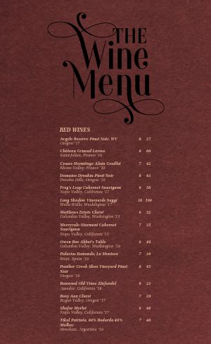 Pinot Noir Wine List Menu