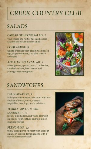 Country Club Menu Sample