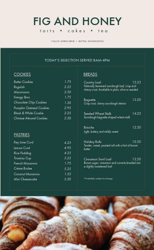 Bakery Cakes Menu