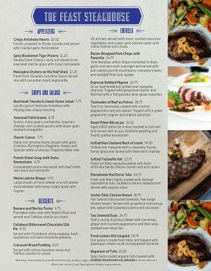Straightforward Steakhouse Menu
