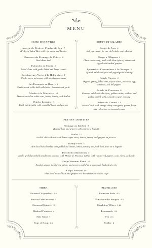 French Entrees Menu
