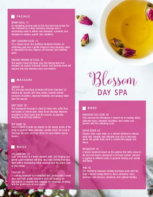 Day Spa Specials Menu