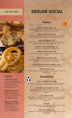 Simple Sports Bar Menu