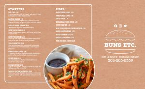 Tan Burger Takeout Menu