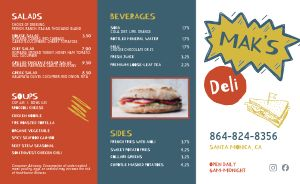 Colorful Sandwich Deli Takeout Menu