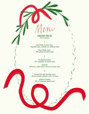 Christmas Ribbon Menu
