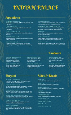 Fresh Indian Menu