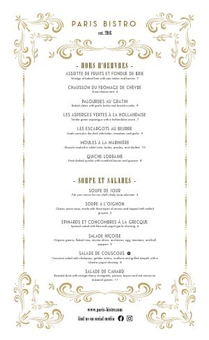 Golden French Menu