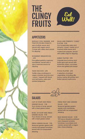 Lemons Vegan Menu