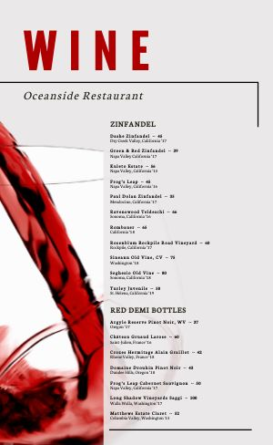 Wine List Menu Idea