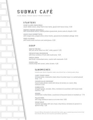 Plain Brick Cafe Menu