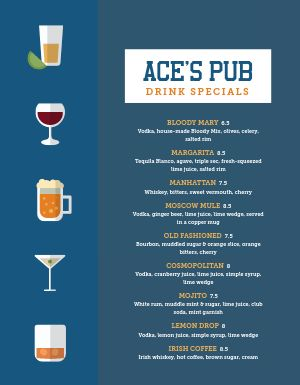 Specialty Pub Menu