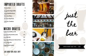 Bottle Beer Folded Menu