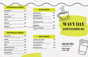 Coffee Cup Folded Menu