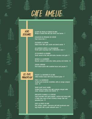 French Forest Menu