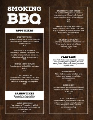 Smoked Meats BBQ Menu