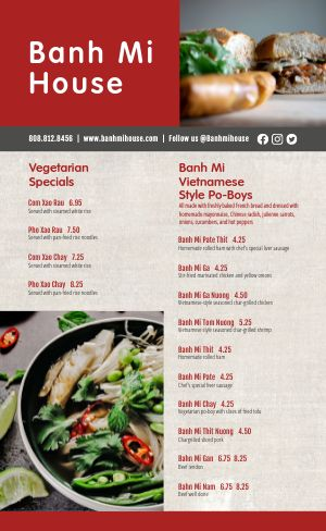 Banh Mi Vietnamese Menu
