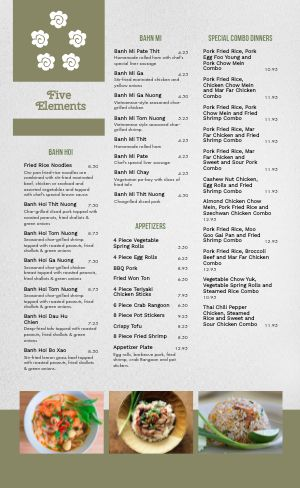 Vietnamese Dine In Menu