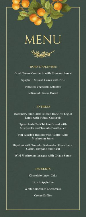 Private Event Half Page Menu Sample