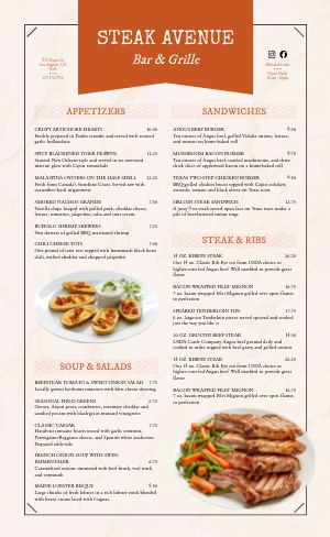 Steak Grillhouse Menu