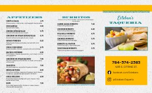 Simple Taqueria Mexican Takeout Menu