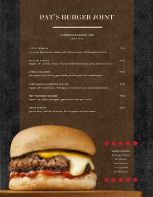 Burger Month Menu