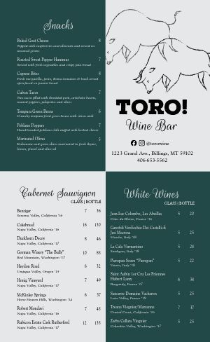Spanish Wine Bar Menu