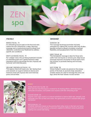 Zen Spa Menu