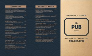 Contemporary Pub Takeout Menu