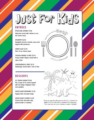 Rainbow Kids Menu