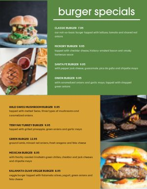 Grilled Burger Specials Menu