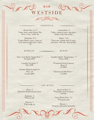 Pamphlet Bar Menu