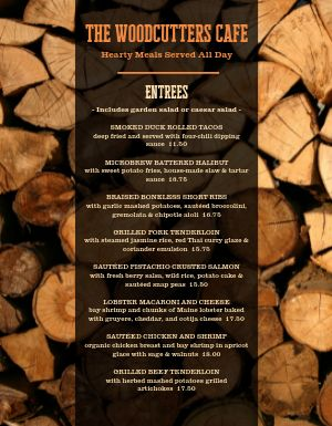 Rustic Wood Cafe Menu