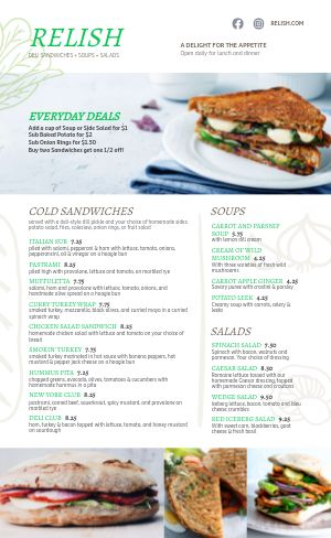 Fresh Sandwich Deli Menu