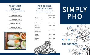Pho Vietnamese Takeout Menu Example
