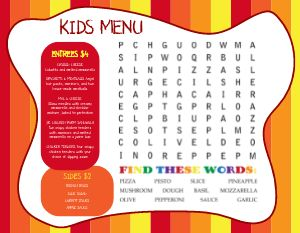 Word Find Kids Menu