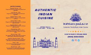 Authentic Indian Cuisine Takeout Menu