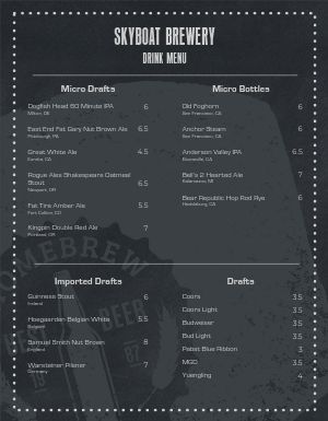 Happy Hour Brews Menu
