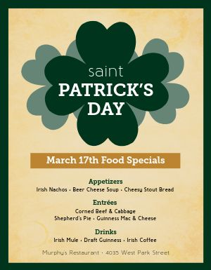 St Patricks Day Food Flyer