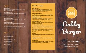 Modern Rustic Burger Takeout Menu