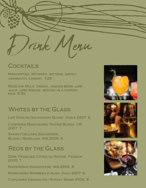 Wine List Bar Menu
