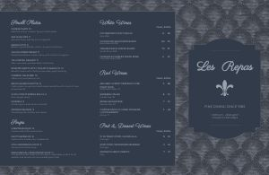 Aqua Fine Dining Folded Menu