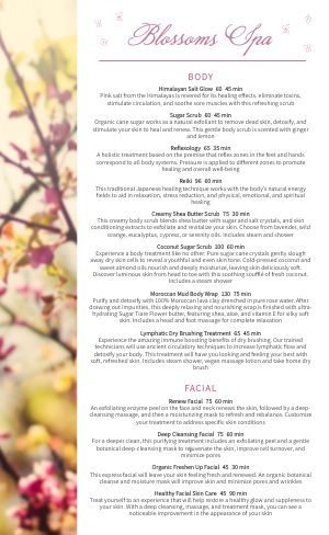 Blossoms Spa Menu