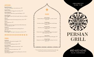 Ornate Middle Eastern Takeout Menu