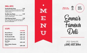 Retro Deli Takeout Menu