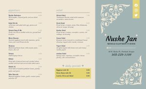 Basic Middle Eastern Takeout Menu