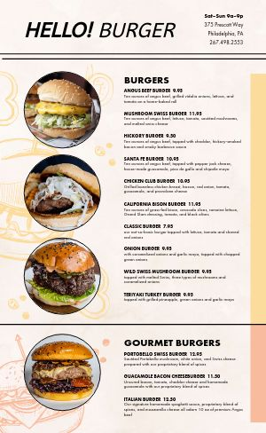 Photos Burger Menu