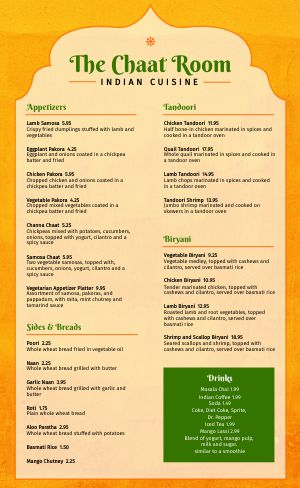Example Indian Menu