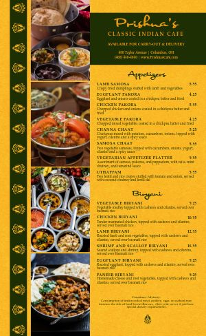 Classic Indian Cafe Menu