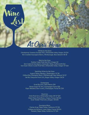 Grape Wine Menu